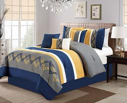 7pc Modern Pleated Stripe Zigzag Embroidered Navy Yellow Com