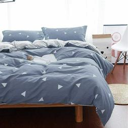 Modern Queen Duvet Cover BLUE w/ Triangles 3 Piece Set 2 Pil