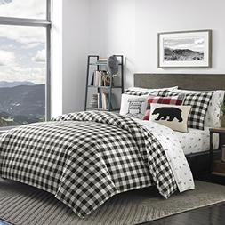Eddie Bauer Mountain Plaid Duvet Cover Set, Full/Queen, Blac