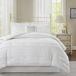 Madison Park Celeste 5 Piece Comforter Set, White, Queen