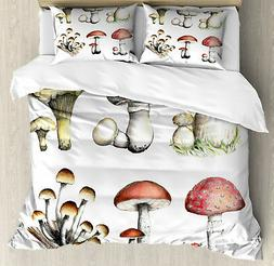 Mushroom Duvet Cover Set with Pillow Shams Hand Drawn Fungus