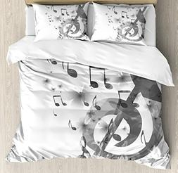 Ambesonne Music Decor Duvet Cover Set Queen Size, Music with