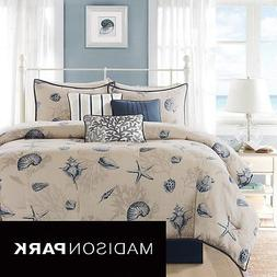 Madison Park Nantucket 7 pc Comforter Set QUEEN Cotton Polye