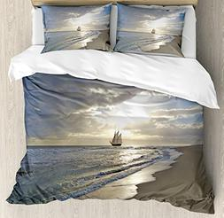 Ambesonne Nautical Duvet Cover Set, A Sailing Ship Close to