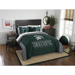 NCAA Spartans Comforter Full Queen Set Green Grey Sports Pat