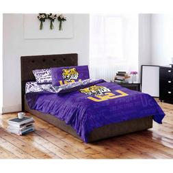 5 Piece NCAA Tigers Comforter with Sheets Queen Set, Purple