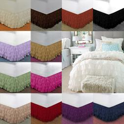 """NEW 1PC SOLID PLAIN BED DRESSING RUFFLE SKIRT 20"""" INCH DROP"""