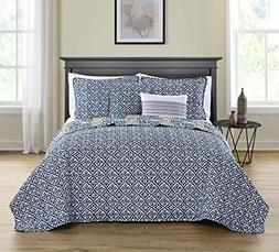 NEW VCNY Home Azau Bedding Quilt Set, Queen, Multicolor FREE