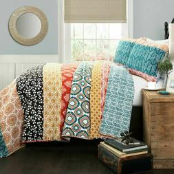NEW - Bohemian 3 Piece Striped Quilt Set by Lush Decor KING