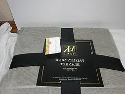 New MK Home Paisley Mink Full/Queen Blanket 90x90 ~ Taupe  N