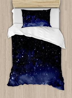 Ambesonne Night Duvet Cover Set Twin Size, Ethereal View of