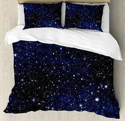 Night Duvet Cover Set with Pillow Shams Vivid Celestial Sky