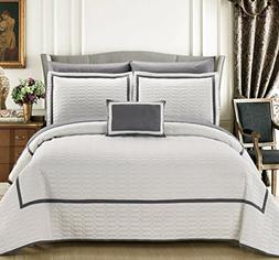 Noelle 8 Piece Hotel Collection 2 tone banded Geometrical Em
