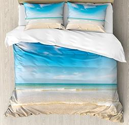 Ambesonne Ocean Duvet Cover Set Queen Size, and Sky Landscap