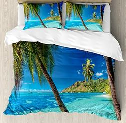 Ambesonne Ocean Duvet Cover Set Queen Size, Image of a Tropi