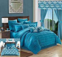 Perfect Home 24 Piece Orinda Complete Pleated ruffles and Re