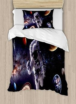 Ambesonne Outer Space Duvet Cover Set Twin Size, Astronaut B