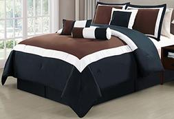 7 Piece Oversize BROWN / BLACK / WHITE Color Block Comforter