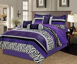 7 Piece Oversize Light PURPLE Black White Zebra Leopard Micr