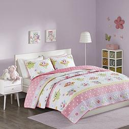 Comfort Spaces - Owl Pattern Kids Bedspread Mini Quilt Set -