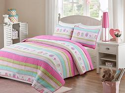 HNNSI 100% Cotton Girls Kids Quilt Bedspread Set Owls Patter
