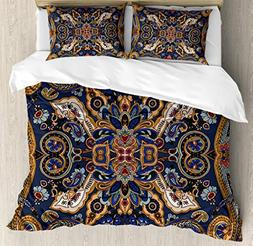 Ambesonne Paisley Duvet Cover Set Queen Size, Moroccan Flore