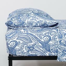 Cosy House Paisley Blue Printed Ultra Soft Bed Sheet Set Pat