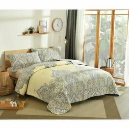 Pale Daffodil Bohemian Quilted Bedspread Set by DaDa Bedding
