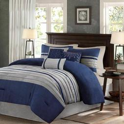 Madison Park Palmer 7 Piece Comforter Set Queen in Blue