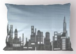 Ambesonne Digital Pillow Sham, City Skyline with Futuristic