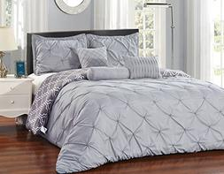 Unique Home 7 Piece Pinch Pleat Bed in a Bag Comforter Set