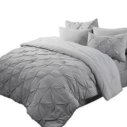 Bedsure Pinch Pleat Down Alternative 8 Piece Comforter Set K