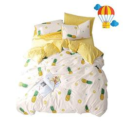BuLuTu Pineapple Queen Duvet Cover Set Cotton Cream/Off Whit
