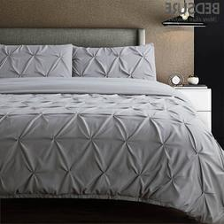 Bedsure Pintuck 3PCS Duvet Cover Set Grey Pinch Pleat Beddin