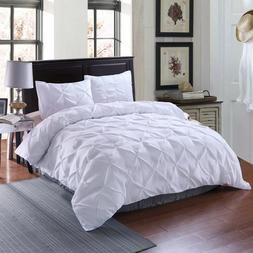 White Pintuck Diamond Comforter Quilt Coverlet Queen Size Be