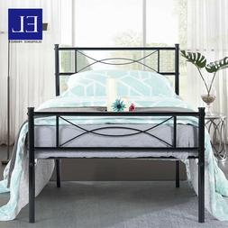 Metal Platform Bed Frame Mattress Foundation Steel Headboard