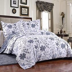 Simple&Opulence Polyester White Floral Soft Bedding King Que