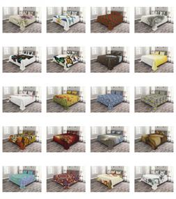 Printed Quilted Bed Cover Set Decorative Coverlet Bedspread
