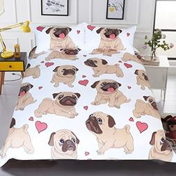 Sleepwish Pug Duvet Cover Cartoon Cute Pug Love Hearts Beddi
