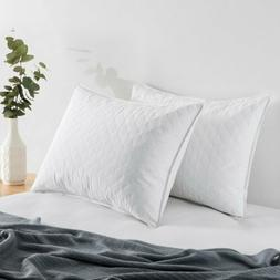 puredown Quilted Goose Feather and Down Pillow, Set of 2,Whi