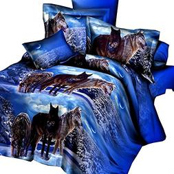 Queen Size Wolf Bedding Sets,3D Oil Painting Wolf Duvet Cove