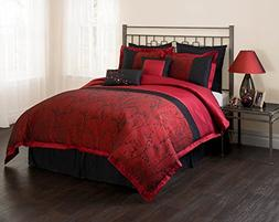Unique Home Queen Burgundy Black Comforter Set, 7 Piece, Lat