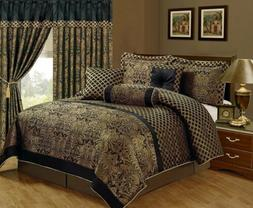 Queen Cal King Bed Black Gold Floral Damask Lattice 7 pc Com