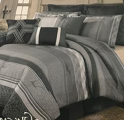 Unique Home 9 Piece Queen Greyson Geometric Gray Comforter S