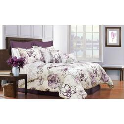 Queen King Bed Purple White Abstract Floral Stripe 7 pc Comf