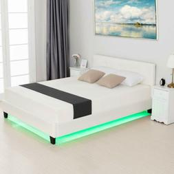 Queen Size LED Light Metal Bed Frame with Upholstered Headbo