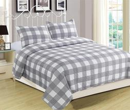 Queen or King Buffalo Check Plaid Stripe Checkered Quilt Bed