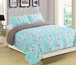Queen or King Cherry Blossom Spring Bloom Quilt Bedding Set