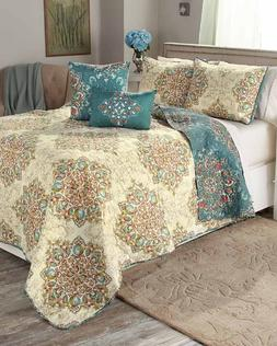 Queen or King Quilt Set Teen Bedding Teal Beige Medallion Co