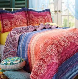 Queen or King Size Quilt Set Bedding Vibrant Sunset Red Blue